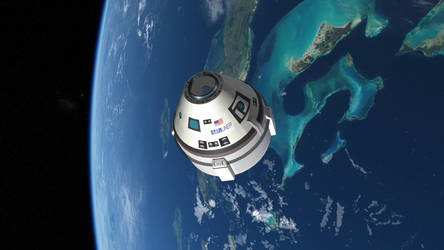 CST-100 Starliner over the Bahamas
