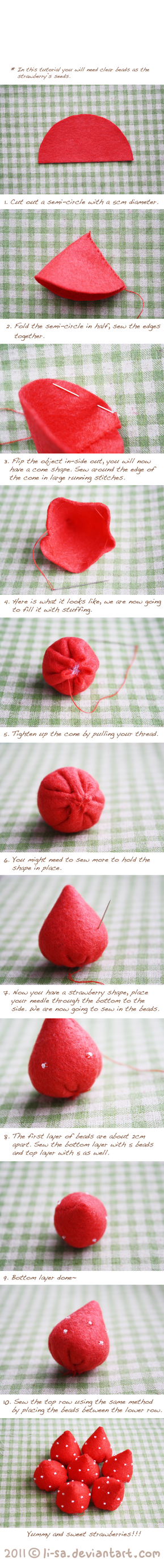 Felt cake tutorial- strawberry by li-sa