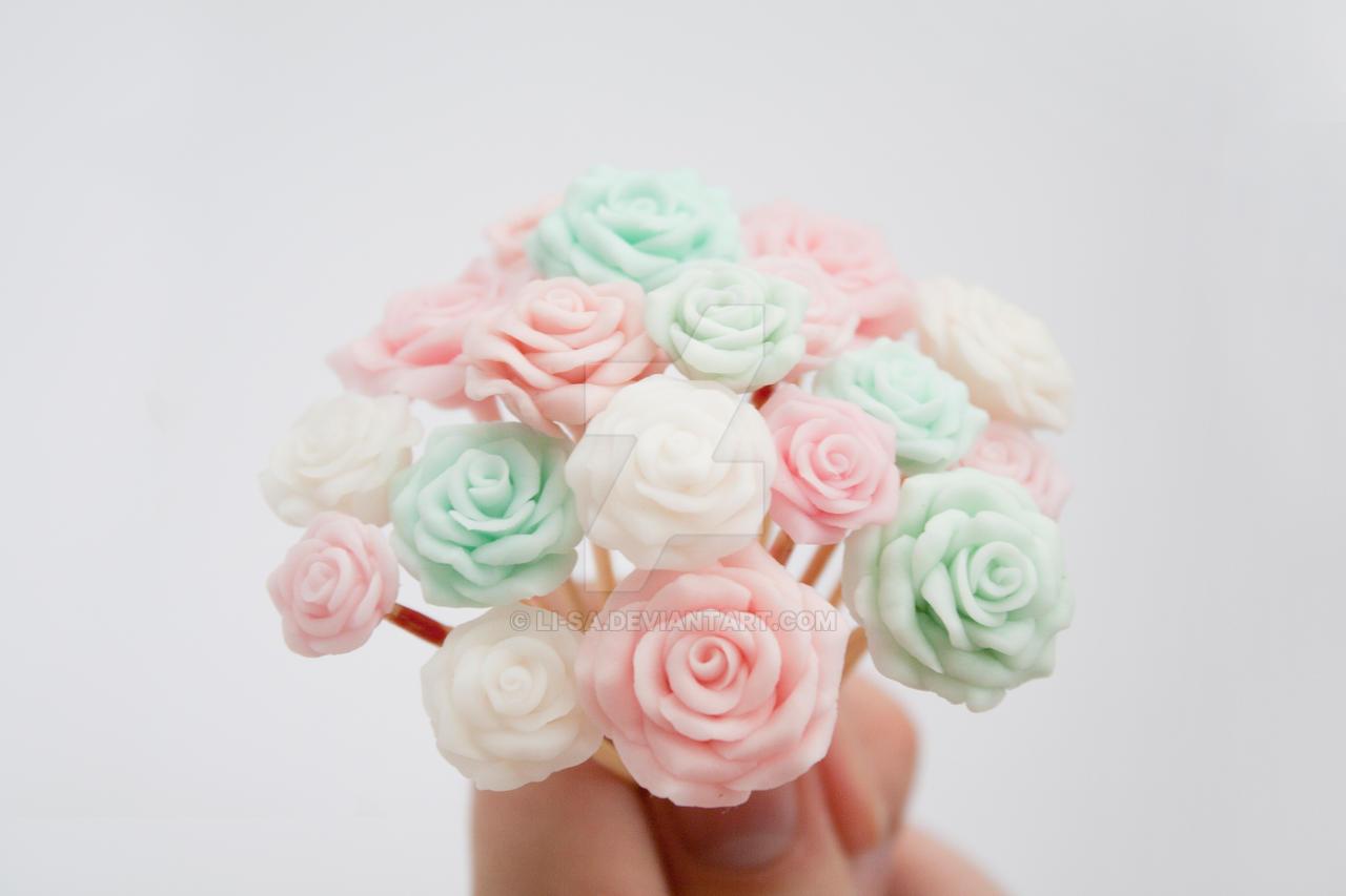 Handmade Pastel Roses by li-sa