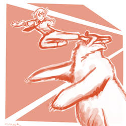 Commission - Rin vs Kuma by clorinspats