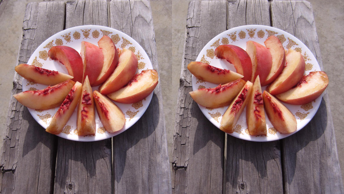 Stereograph - Peach Slices by alanbecker