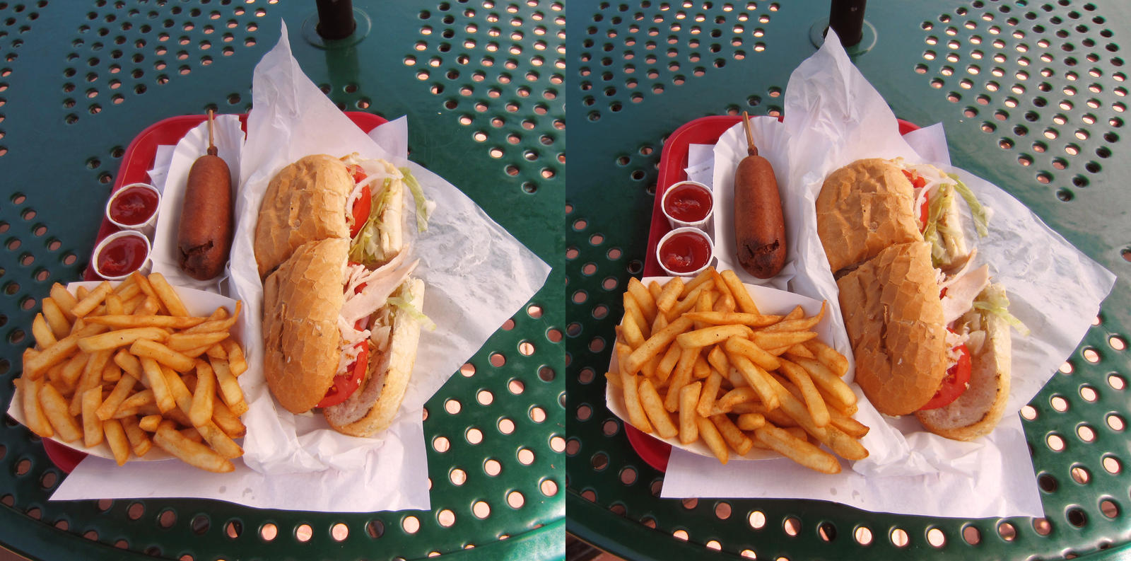 Stereograph - Sub Fries and Corndog by alanbecker