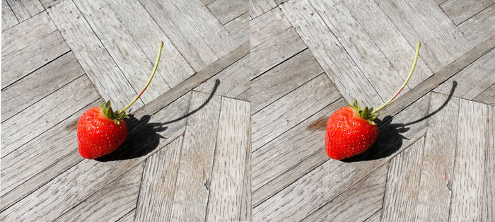 Stereograph - Strawberry with Stem