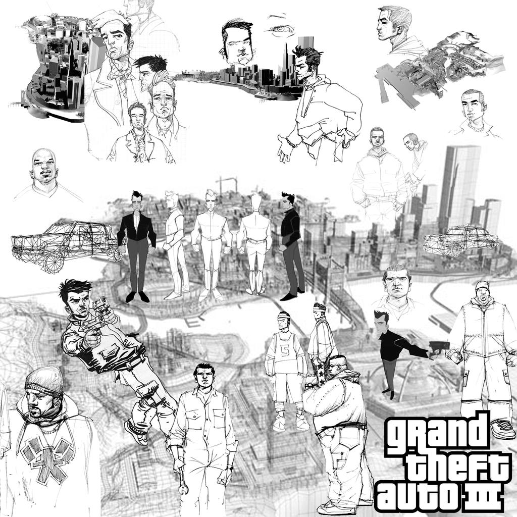 Gta Iii Sketches By Flyingfiesta On Deviantart Gta 5 Coloring Pages