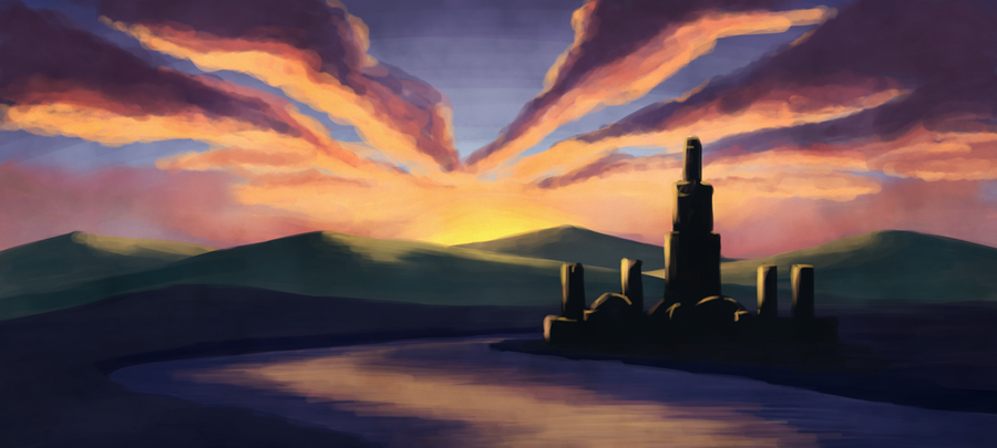 Speedpaint: Flatland Castle by the River by pica-ae