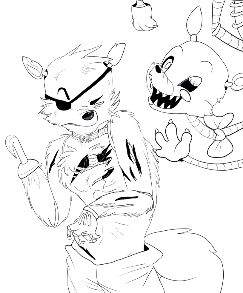 Foxy and Le Mangle LINE ART by LilRedGummie