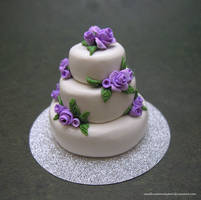 Purple Rose Wedding Cake by SmallCreationsByMel