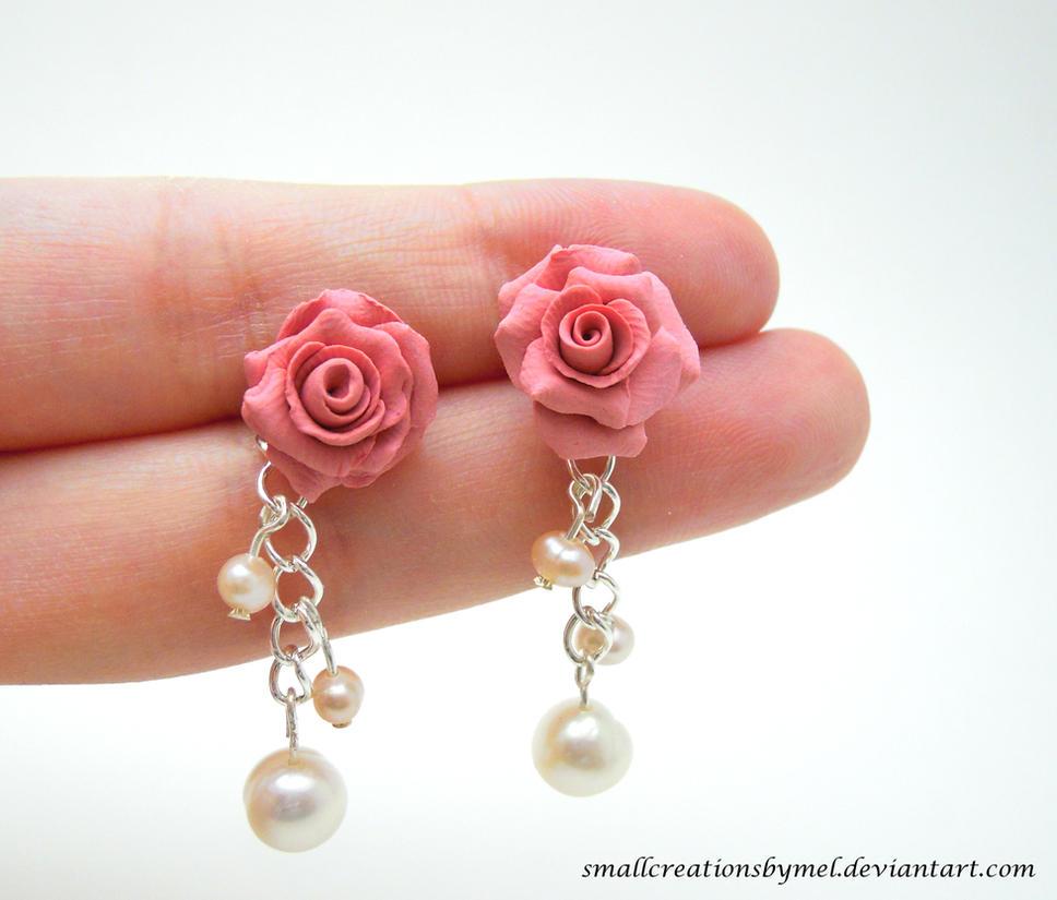 Pink Rose Earrings by SmallCreationsByMel