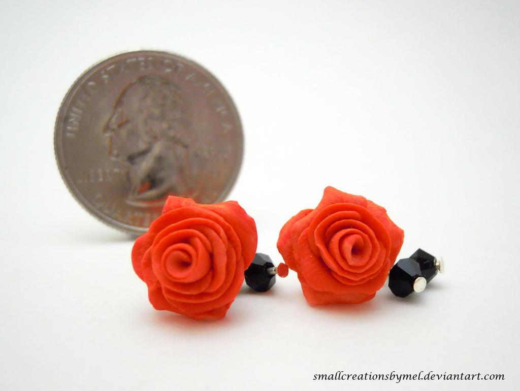 Orange Rose Earrings by SmallCreationsByMel