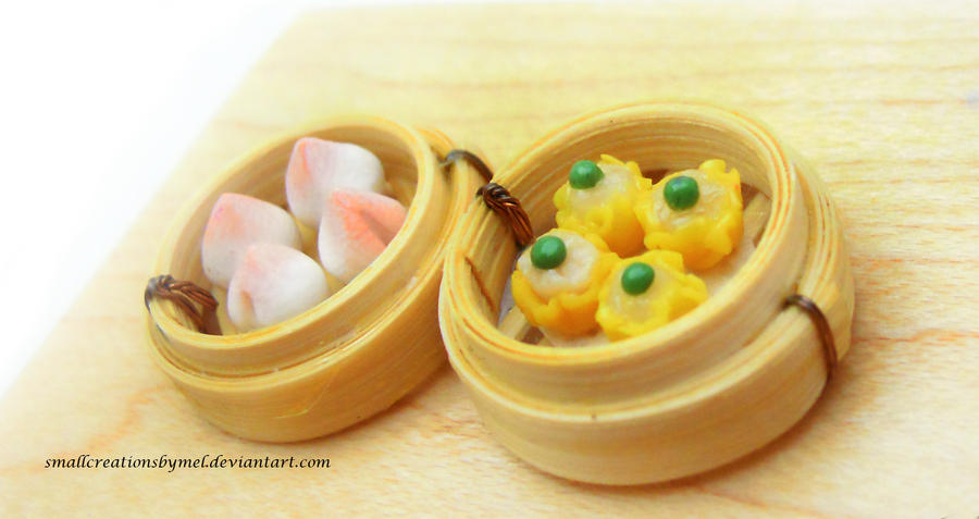Dim Sum - Longevity Bun and Shumai by SmallCreationsByMel
