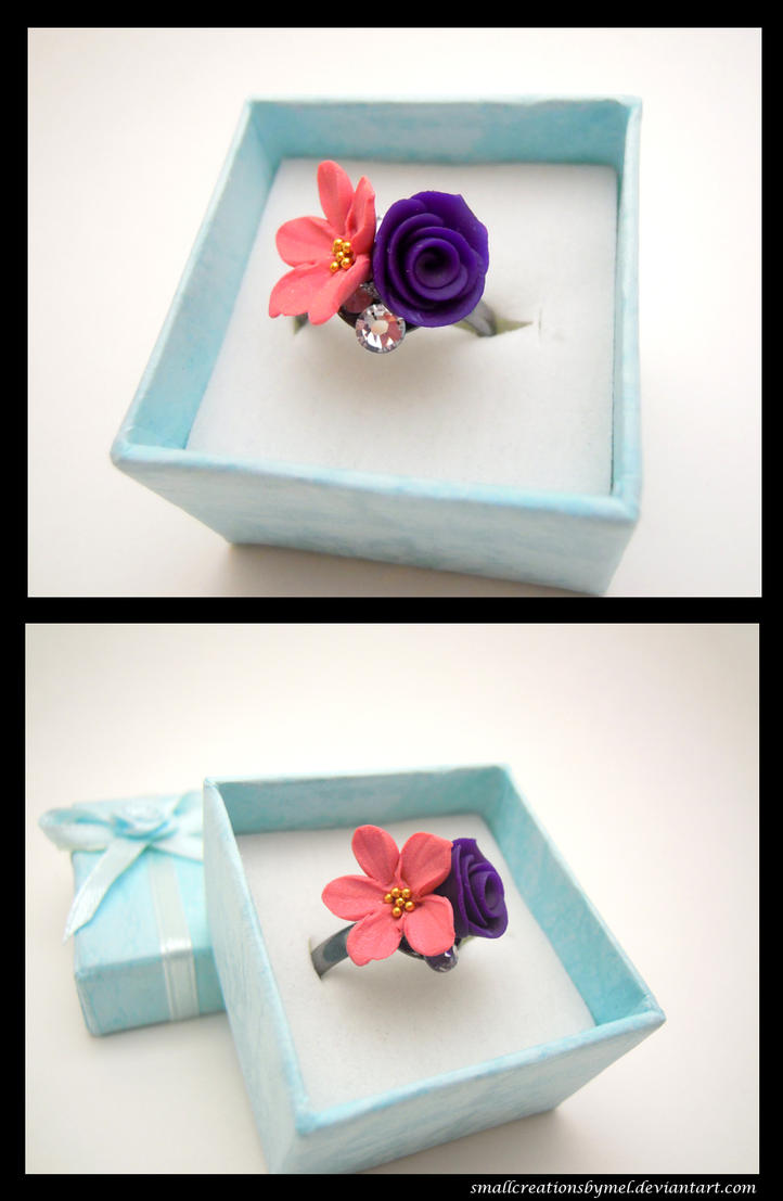 Pink Purple Flower Ring by SmallCreationsByMel