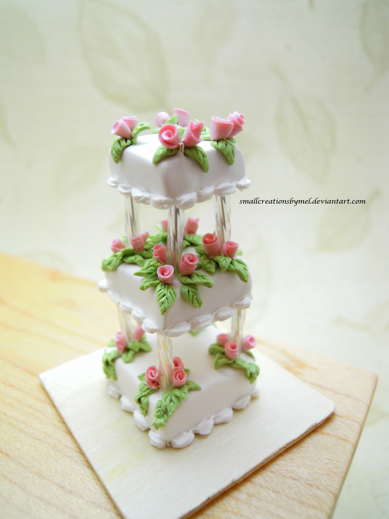 Pink Rose Wedding Cake by SmallCreationsByMel