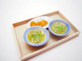 Boiled Dumplings + Green Onion Pancake by SmallCreationsByMel