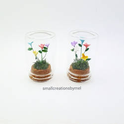 Miniature Flowers in bottles - 2 minis by SmallCreationsByMel