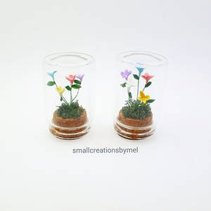 Miniature Flowers in bottles - 2 minis