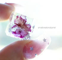 Purple Flower in a Resin Cube
