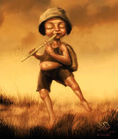 The Boy with flute by Algalad