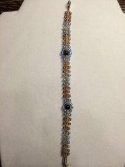 8 inch Bracelet Light Blue and Purple