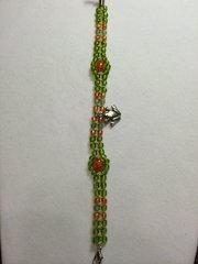 8 inch Bracelet Green Orange with Frog Charm