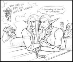 All them dwarves bring the nelfs to their yard by RaptorRia