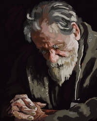 old man praying - study