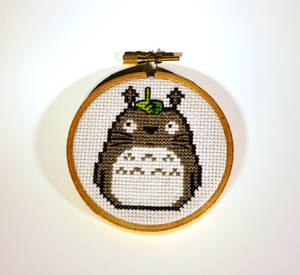 Totoro Cross Stitched Wall Hanging