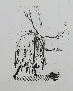 Skeleton Linocut Print