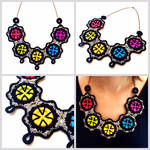 Crocheted colorful buttons necklace