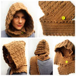 Crocheted brown scoodie
