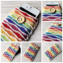 Crocheted rainbow cell phone case by Sefi