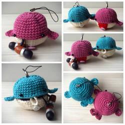 Crocheted amigurumi whale - earbud earphone case by Sefi