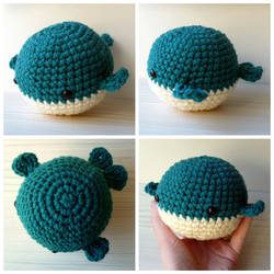 Crocheted blue whale plushie by Sefi