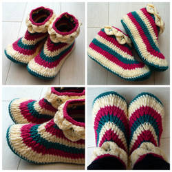 Crocheted adult size slippers by Sefi