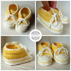 Crocheted yellow baby sneakers by Sefi
