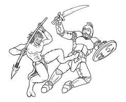 Satyr vs Knight by MajorKiz