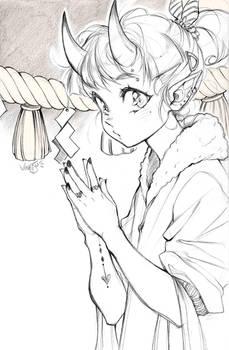 Pencil sketch: Oni girl
