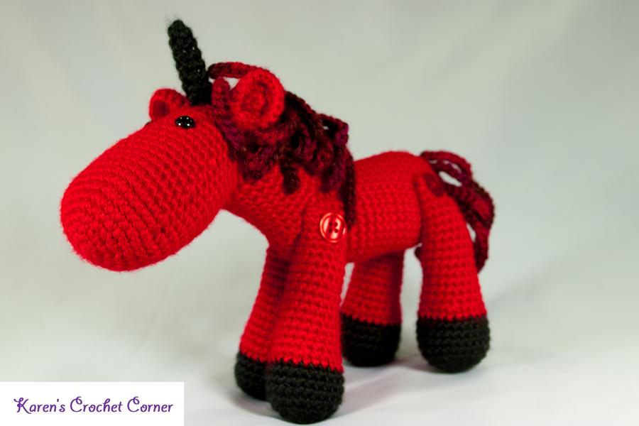 Red Demon Jointed Amigurumi Unicorn by karenscrochetcorner on ...