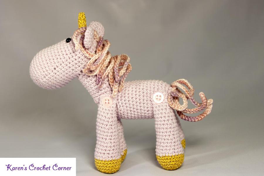 Amigurumi Unicorn : Lavender and gold jointed amigurumi unicorn by karenscrochetcorner