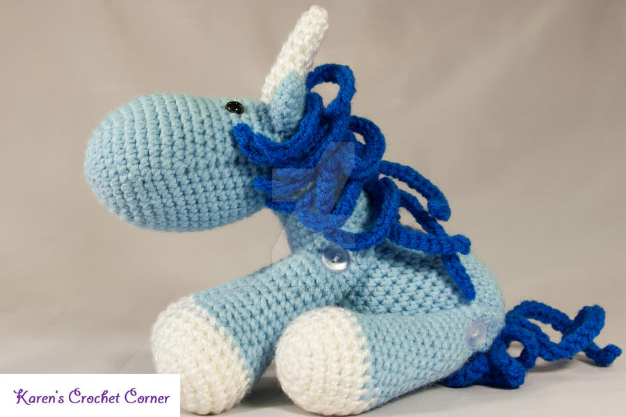 Crochet Baby Unicorn Pattern : Blue and White Jointed Amigurumi Unicorn by ...