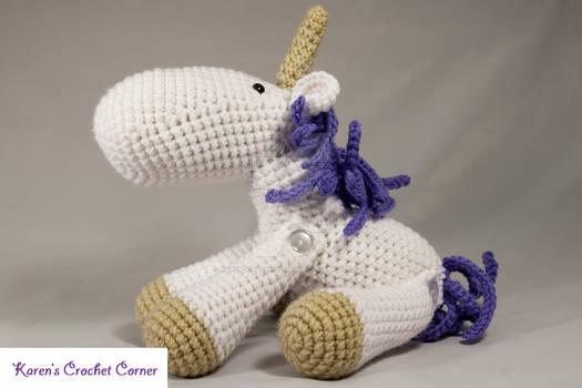 White and Purple Jointed Amigurumi Unicorn