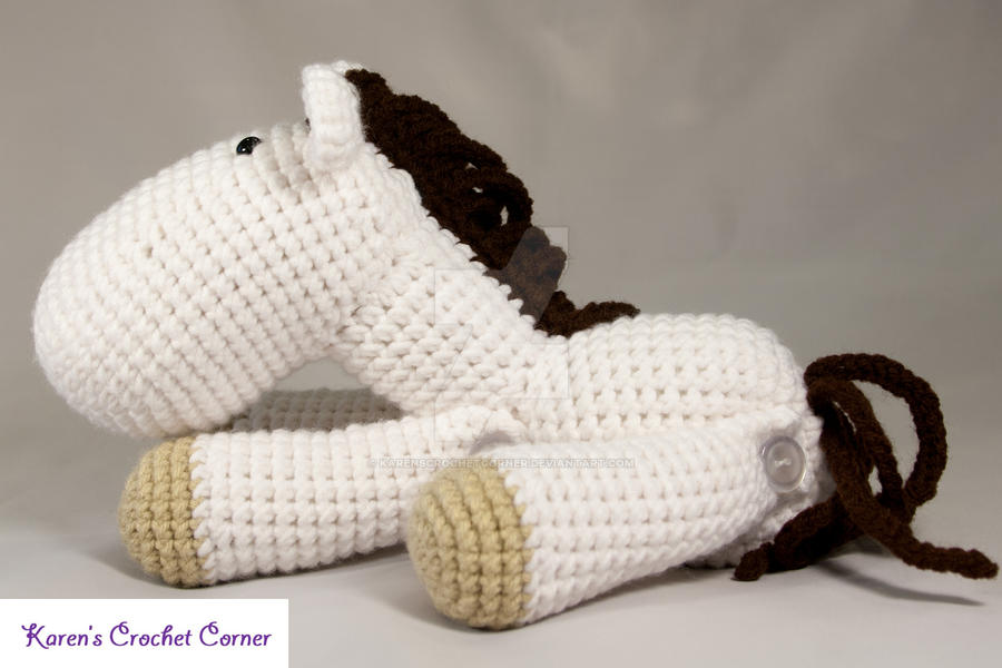 Amigurumi Horse Crochet Pattern : White and Brown Jointed Amigurumi Horse by ...
