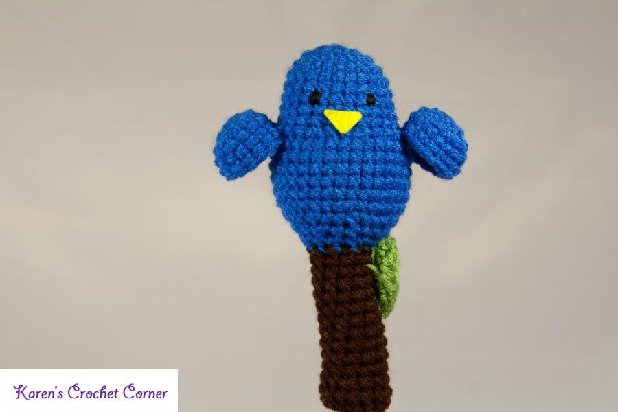 Crochet Blue Bird with Yellow Beak Rattle by ...