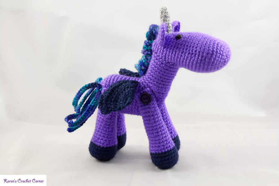 Purple Winged Unicorn by karenscrochetcorner