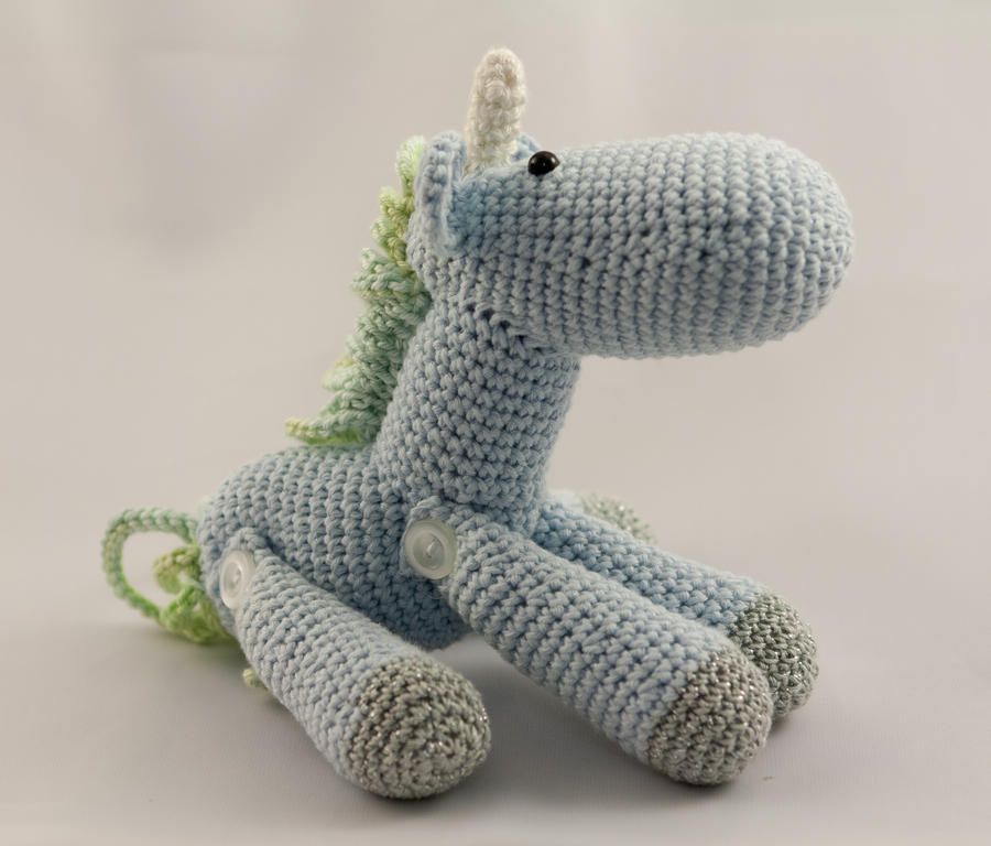 Little Blue and Green Jointed Amigurumi Unicorn by ...