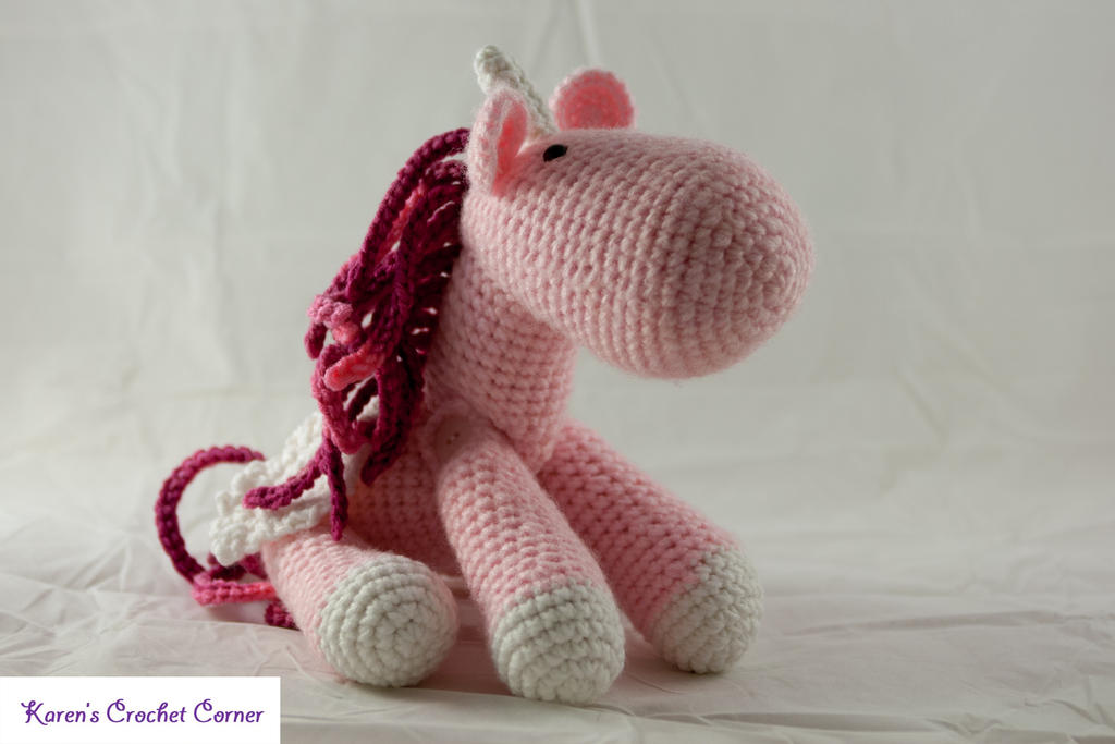 Large Amigurumi Pink Winged Unicorn by karenscrochetcorner