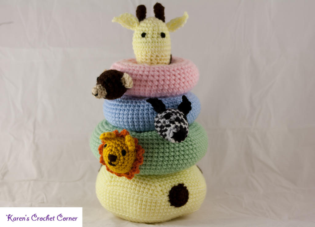 Safari Friends Crochet Stacking Ring Toy With Nois By