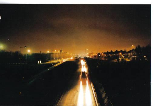 night on top of a bridge