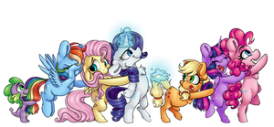 Mane 6 (and Spike) Conga line by CutePencilCase