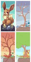 Comm-Eevees through Seasons Wallpapers
