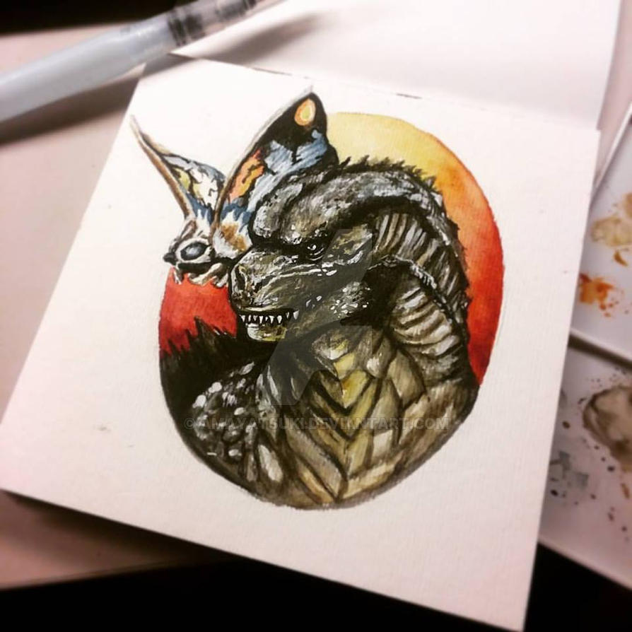 Godzilla - Small Watercolor by AmayaTsuki